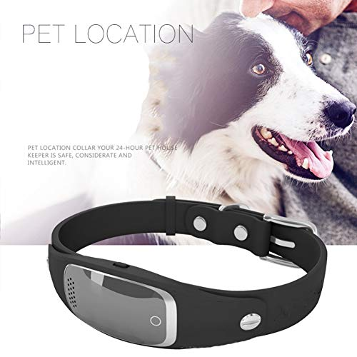 Wrqq GPS Localizador Pet Anti Perdido Rastreador Micro Inteligente Alarma Impermeable para Mascotas Perro Gato Collares (Puede Apoyar La GrabacióN),Black,50 * 50 * 43mm