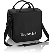 Technics Record bolsa 50Capacidad de vinilo negro con logotipo blanco