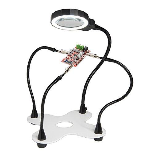 Fancii Dritte Hand mit Lupe und LED Lampe, 2x Vergrößerung – Helfende Hand hochbelastbarer mit 3...