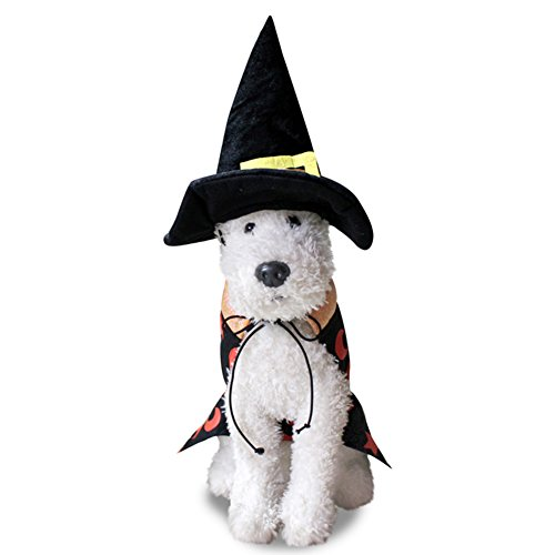 zhouba Hund Puppy Halloween Zauberer Umhang mit Hut Pet Kostüm Fancy Dress Party suit, As the pictures show, S