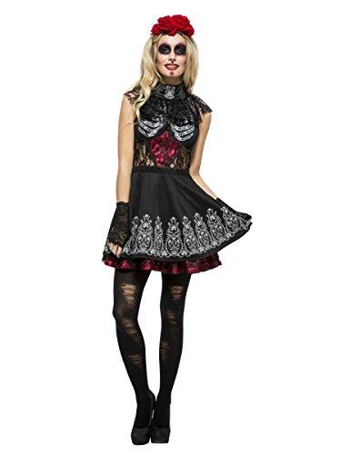 Smiffys Damen Kostüm sexy Tag der Toten Skelett Halloween Karneval ()