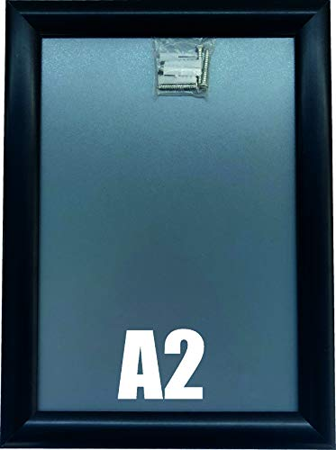 Warenfux24 (DIN A2) Aluminium Klapprahmen SCHWARZ, Alu Rahmen, Plakatrahmen, Ladeneinrichtung, Wechselrahmen, 625 x 870 mm, DRUCKUNDSO (A2)