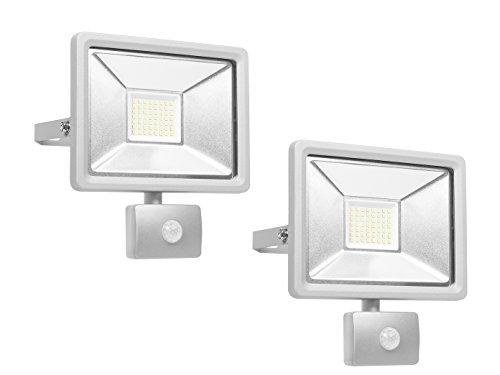Lot de 2 Spot LED avec détecteur de mouvement et de raccordement Smart, 30 W, aluminium, IP44, Smartwares