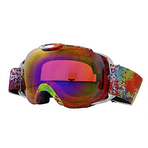 yomeni Skibrille für Damen & Herren, Ski/Snowboardbrille über Gläser mit revo Anti-Fog/Kratz Objektiv, Schneemobil Snow Goggles UV400Schutz, violett