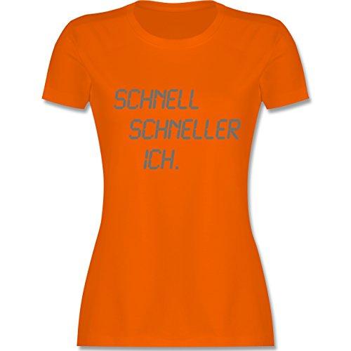 Laufsport - schnell - schneller - ich - tailliertes Premium T-Shirt mit Rundhalsausschnitt für Damen Orange