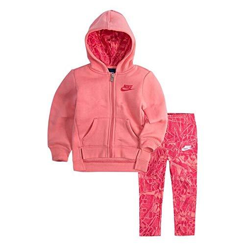 Nike Zweiteiliges Outfit für kleine Mädchen, 553S-R3U_XXS_Blanco, Light Fuchsia Red, 18 Monate -
