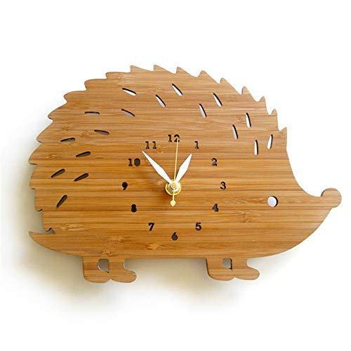 NEBLAC Reloj de Pared, decoración de Pared, Animales, Dormitorio de niños, Erizo, Reloj de Madera, fácil de Leer para los Relojes de la Escuela.