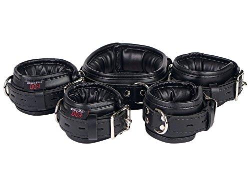 (verschiedene Farben) Bondage Manschetten Set gepolstert und abschließbar Leder Fesseln Set Handfesseln, Fußfesseln und Halsband (Schwarz)