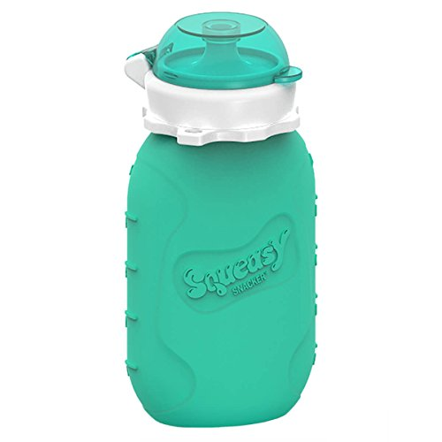 EduToys ® - 180 ML Squeasy Gear - Reusable Baby Food Pouch + Squeeze, Portable, Refillable Baby Food Container, Storage + Great for Smoothies and Snacks + 100% Food Grade Silicone - Squeasy Snacker - - Featuring No-Spill Insert (Aqua)