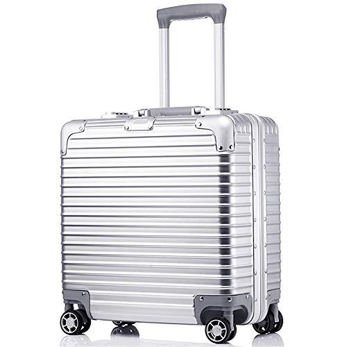 Po Rolling Laptop Case Aktentasche Compact Reisetaschen Gepäck Business Trolley Anti-Kratz Verschleißfest 43 * 42 * 20 cm,Silver -