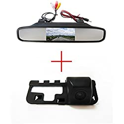 FUWAY CCD Color Car Reverse Rear View Parking Back up Camera for Honda CIVIC 2006 2007 2008 2009, with 4.3 Inch Color LCD TFT Rear View Mirror Monitor Screen Car Backup Monitor