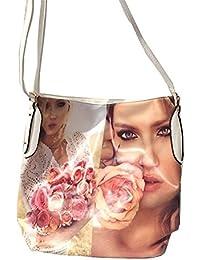 DIETZ Shopper mit Rosenmotiv Damentasche Handtasche weiß 37x35x13cm