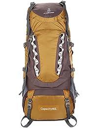 FLAMEHORSE- 80L Mochilas de Senderismo Mochilas de Camping Bolsa de Viaje Impermeable para Viaje Escalada Acampada Montañismo Nieve Backpack Daypack Mochila Grande Nylon de Alta Calidad (Oro)