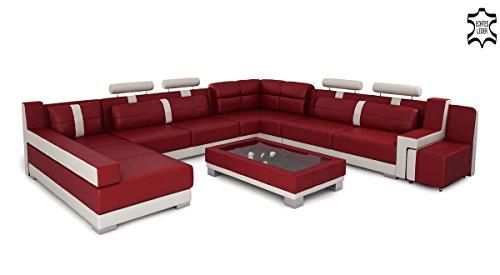 Leder Wohnlandschaft XXL Big Sofa weinrot / weiß Ledersofa Ledercouch U-Form Designsofa KÖLN