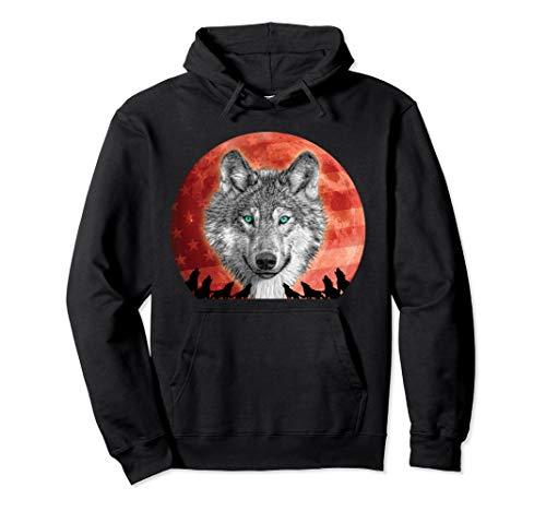 Werwolf Happy Howloween Vollmond US Flagge Halloween Kostüm Pullover - Werwolf Hoodie Kostüm