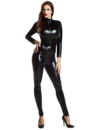 CHENGYANG Unisex Fasching Ganzkörperanzug Erwachsene Shiny Spandex Fancy Kleid Schwarz XL
