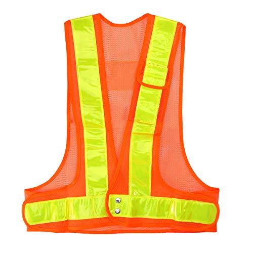 NUOBESTY Reflektierende Sicherheitsweste Fischnetz Sicherheitsweste für die Arbeit Radsport Läufer Vermesser Freiwillige Wache Straßenbau (orange)