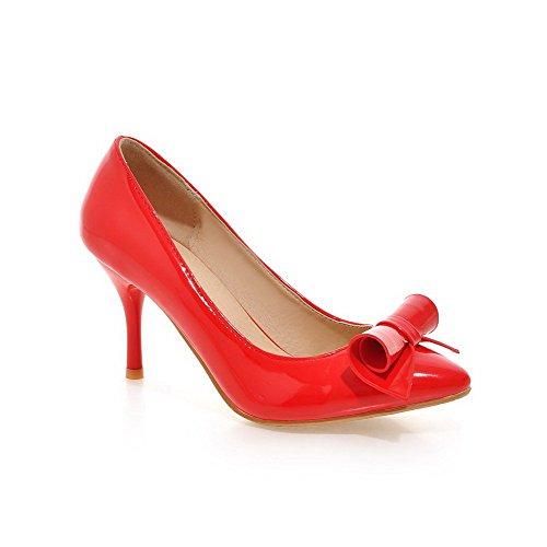AgooLar Damen Spitz Zehe Ziehen Auf Pu Leder Rein Hoher Absatz Pumps Schuhe Rot
