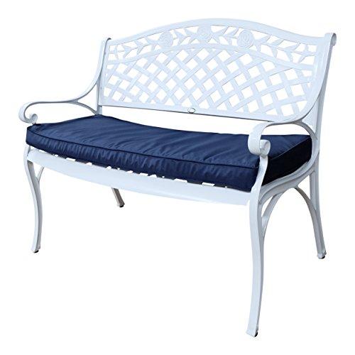 Lazy Susan - ROSE Gartenbank aus Aluminium, Weiß (Blaues Kissen)