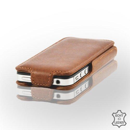 Zaprado MS0899CAR Exklusive brasilianischem Echtleder Schutzhülle für Apple iPhone 4/4S karamell braun (Brasilianisches Leder)