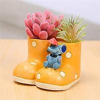 AGGIEYOU Cute Cartoon Boot Shape Resin Flower Pot Succulents Bonsai Planter Flowerpot Nursery Pot Desktop Decoration Garden Supplies