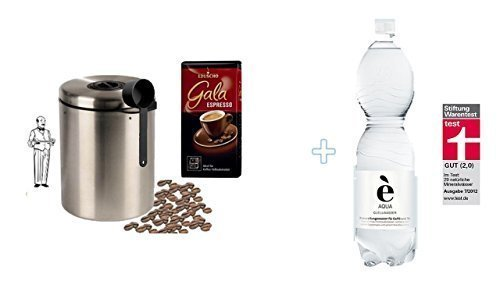 Eduscho Gala Espresso + Edelstahldose für 1 kg Kaffeebohnen Neu mit Silicabag von Conny Clever® zur Erhaltung der Aromastoffe von James Premium® + 1,5 Liter Quellwasser