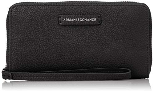 Armani exchange zip-around wristlet wallet - portafogli donna, nero (black), 10x10x10 cm (w x h l)