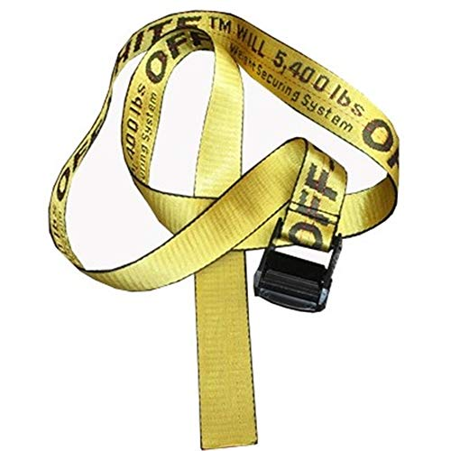 ow belt yellow letter off metal buckle decoration leisure canvas belt street fashion white belt