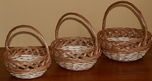 Korb Ostern Osterkorb Weide Verschiedene Varianten zur Auswahl (KSM082 - rund, Ajourarbeit, weißer Band, mit Zopf, groß)