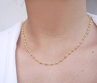 Collier chapellet plaqué or - Collier court chapelet doré - chaîne plaquée or - pierres pyrite doré - collier chaîne de pierres - bijoux femme élégant