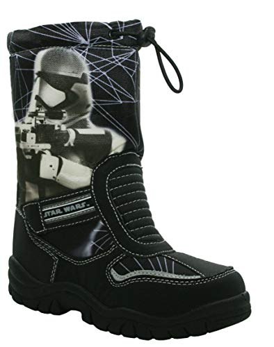 Boys Kids Star Wars Storm Trooper Zip Up Thermal Fleece Lined Light Reflective Winter Wellies Boots UK Sizes 8-2