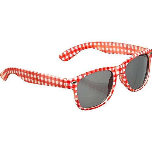 PARTY DISCOUNT Brille, rot-weiß kariert