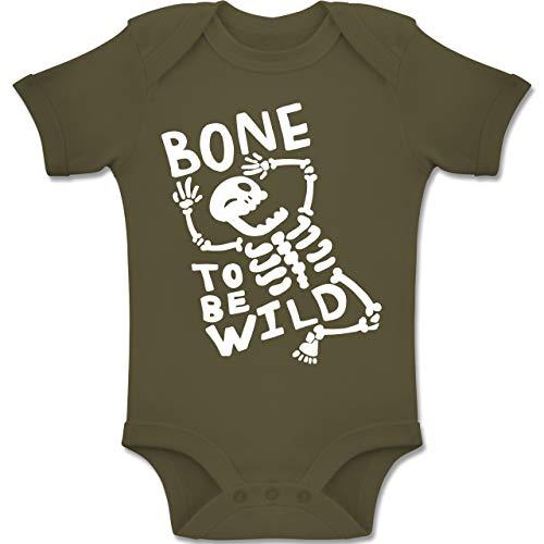 Anlässe Baby - Bone to me Wild Halloween Kostüm - 1-3 Monate - Olivgrün - BZ10 - Baby Body Kurzarm Jungen Mädchen (Witzige Gruppe Halloween-kostüme)