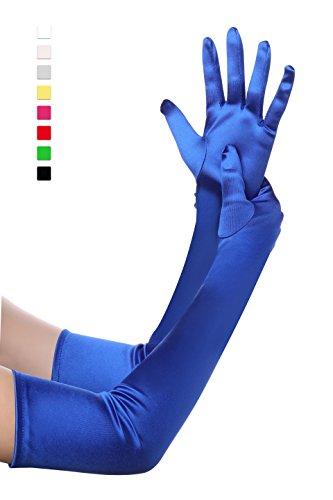 50 cm ca blau Satinhandschuhe