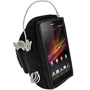 igadgitz Noir Brassard Sports Résistant à L'eau pour Sony Xperia Z1 C6902 C6903 Armband Jogging Salle de Gym