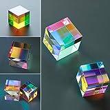 Beimaji Trade Vidrio óptico X-Cube de Seis Caras Brillante Cubo de Cristal Manchado Prisma luz de Splitting Prism óptico decoración del hogar Experimento Instrumento Lente óptica