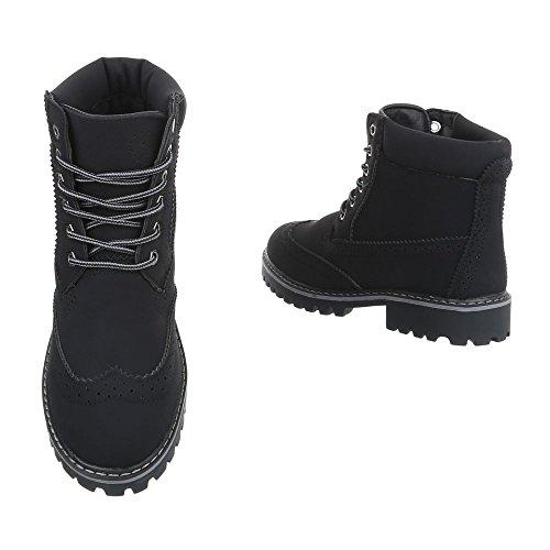 Ital-Design Schnürstiefeletten Damenschuhe Schnürstiefeletten Blockabsatz Schnürer Schnürsenkel Stiefeletten Schwarz H925