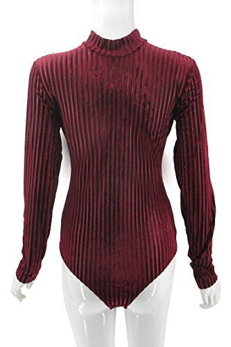 Body Donna Corti Casual Manica Lunga Girocollo Slim Fit Primavera Autunno Tuta Colore Solido Jumpsuit Scamosciato rossi