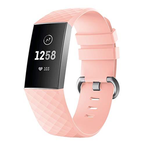 Antimi Ersatzarmband Für Fitbit Charge 3 Armband,Damen Herren Weiche Silikon Sport Einstellbare Uhrenarmband kompatibel für Fitbit Charge 3 (Rosa, S)