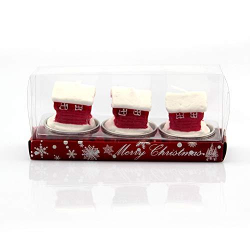 Amosfun Tres Velas navideñas,Casas animadas,artesanías,Color,Navidad,Naranjas,Fiestas Familiares.