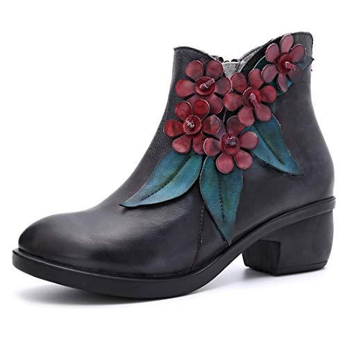 Seraph donna comfy stivali di pelle di cuoio fiore oxford stivali caldo stivaletti block tacco cerniera scarpe,darkblue,eu42