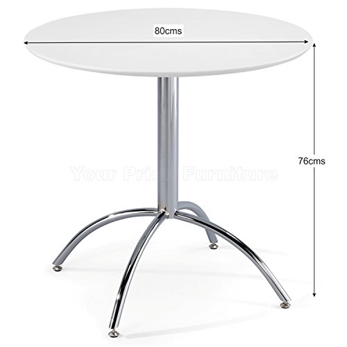 Kimberley Dining Table With Chrome Metal Legs – Kitchen Cafe Bistro Style Small Round Table Choice of White or Natural…