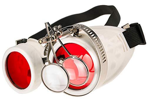 MFAZ Morefaz Ltd Schutzbrille Schweißen Sonnenbrille Welding Cyber Goggles Steampunk Goth Round Cosplay Brille Party Fancy Dress (White Loupe)