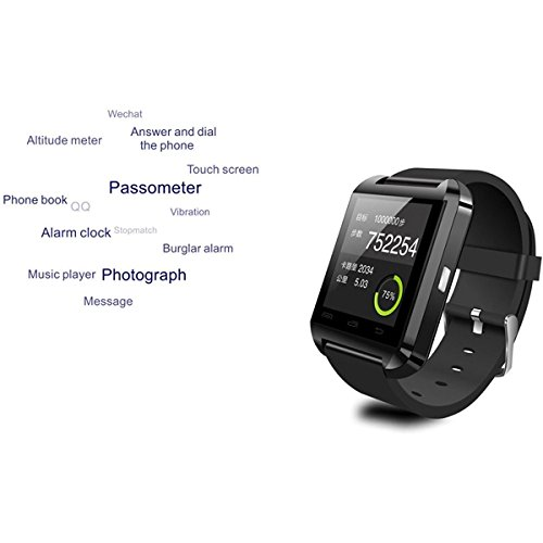 U8 Wearable 1.45″ Touch Screen Smart Bluetooth Watch w/ Pedometer /Barometer /Altimeter /Stopwatch – Black