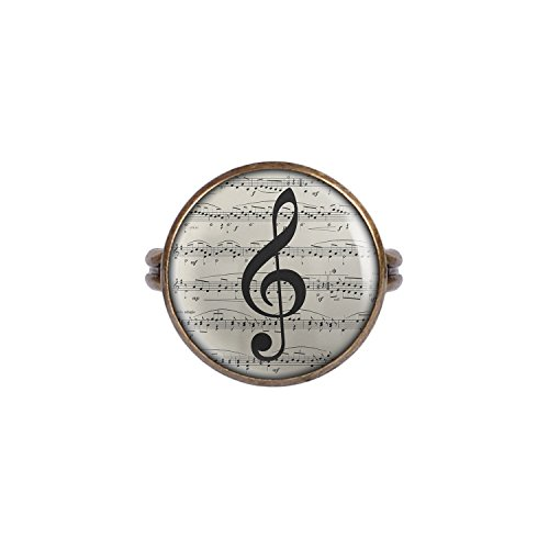 Mylery Ring mit Motiv Noten-Schlüssel Noten-Blatt Musik bronze 16mm