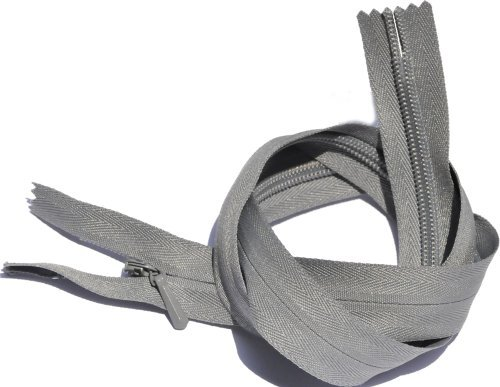 24 Unique Invisible Zipper YKK #3 Conceal Heavy Duty Closed End - Medium Grey (1 Zipper / Pack) by YKK INVISIBLE ZIPPER USA