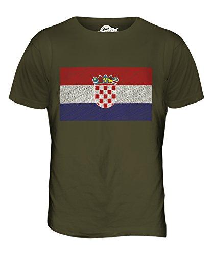 CandyMix Kroatien Kritzelte Flagge Herren T Shirt Khaki Grün