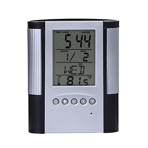 Soft And Antislippery not Battery Multifunctional Pen Pencil Holder Digital Desk Alarm Clock Calendar Temperature Timer