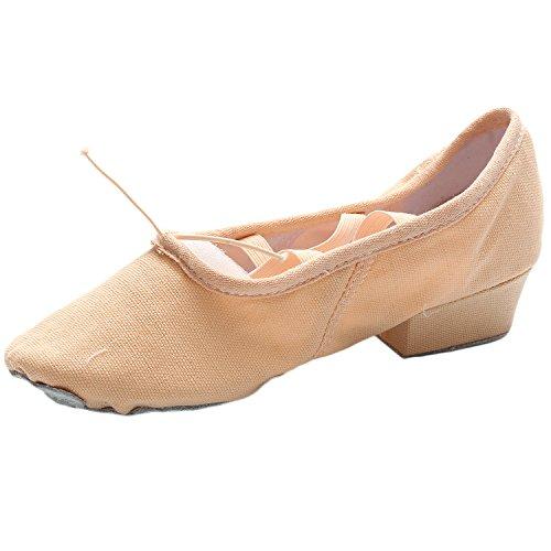 Oasap Women's Canvas Elastic Block Heels Dance Shoes Blue