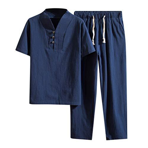 CICIYONER Herren Leinenhemd und Leinenhosen Freizeitanzug Männer Baggy Baumwolle Leinen Tasche Volltonfarbe Kurzarm Retro T-Shirts Hosen Anzug (5XL, Marine) -